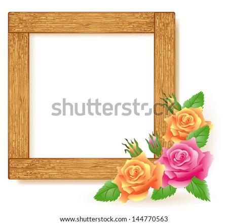 Design wooden photo frames with roses. Raster version of vector. - stock photo