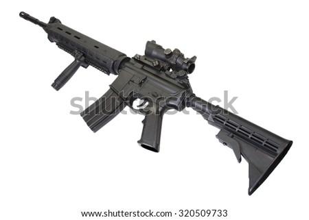 Designated marksmans rifle rifle isolated on a white background - stock photo