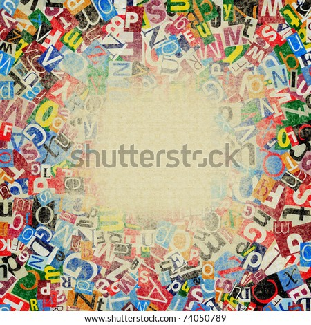 Designed background. Digital collage made of newspaper clippings - stock photo
