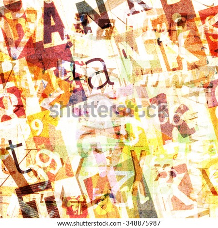 Designed background. Handmade collage made of newspaper and magazine clippings - stock photo
