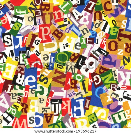 Designed background of mixed colorful letters  - stock photo