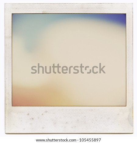 Designed grungy instant film frame with abstract filling isolated on white, kind of background, vintage grain effect added - stock photo