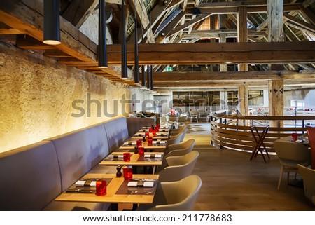 designed restaurant  in antique old building - stock photo