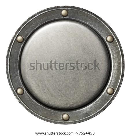 Designed round metal background, texture - stock photo