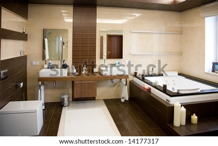 Designer bathroom with a modern tub - stock photo