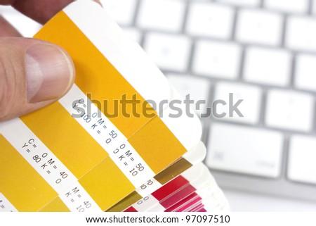 designer choosing the proper color - stock photo