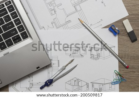 designer desk - stock photo