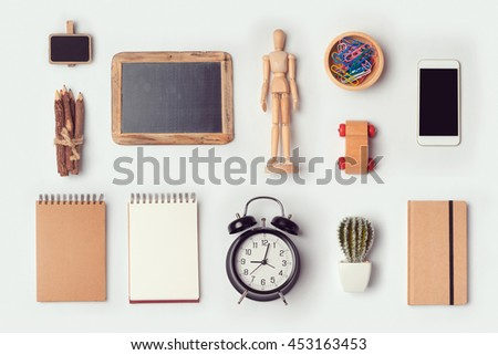 Designer desk objects mock up template for branding identity design. View from above. Flat lay - stock photo