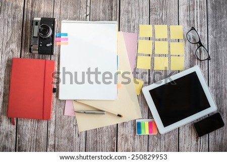 Designer desk with few elements - stock photo
