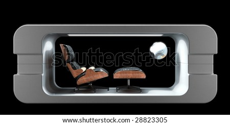 Designer lounge chair in futuristic showcase booth (3D render) - stock photo