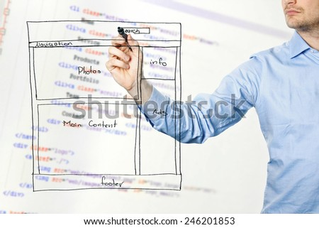 designer presents website development wireframe - stock photo