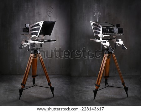 Designer television prompter, a gray textural background - stock photo