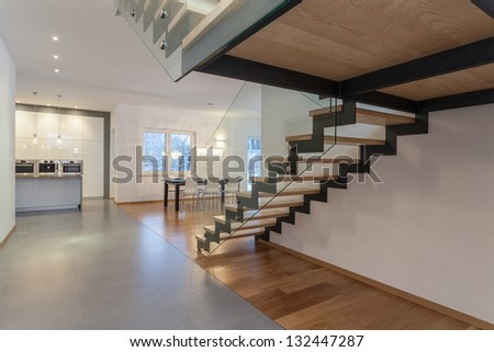 Designers interior - Interior od modern house and staircase - stock photo