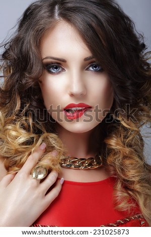 Desire. Flirtatious Woman Biting Her Sexy Lips - stock photo