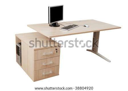 desk and a modern computer on a white background - stock photo