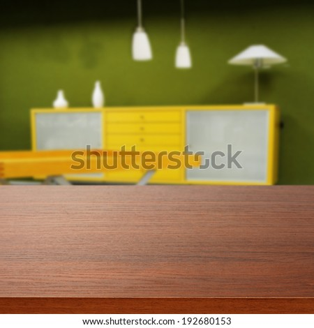 desk and green wall  - stock photo