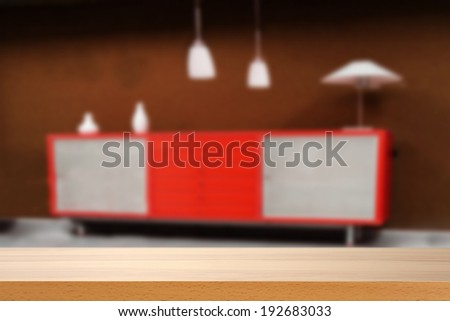 desk and red furniture  - stock photo
