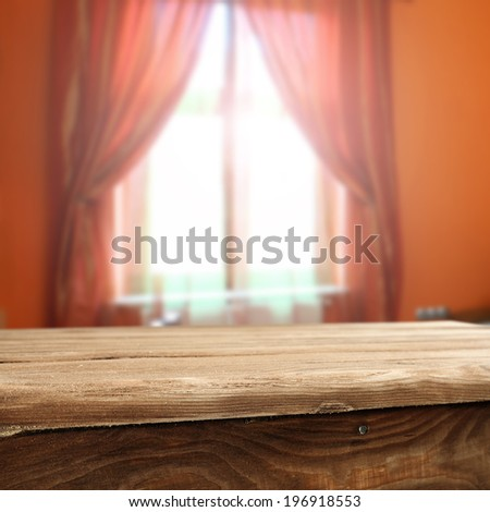 desk and red window  - stock photo