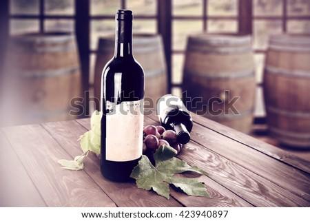 desk and wine  - stock photo