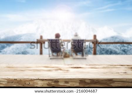 desk and winter  - stock photo