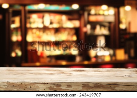 desk and wooden space  - stock photo