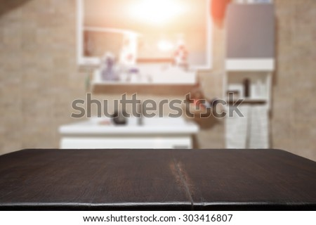Desk free space and bathroom for presentation product - stock photo