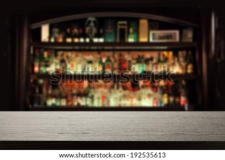 desk in bar  - stock photo