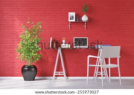 Desk in home office with laptop computer in front of a red wall (3D Rendering) - stock photo