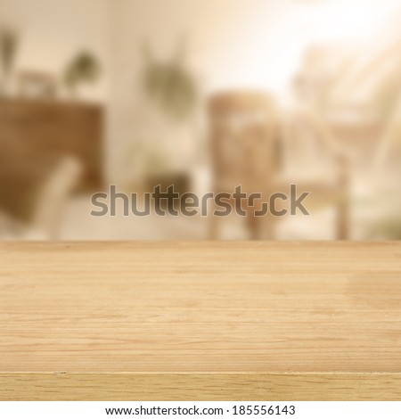 desk in room and empty space for your decoration  - stock photo