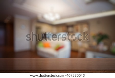 desk in the living room - stock photo