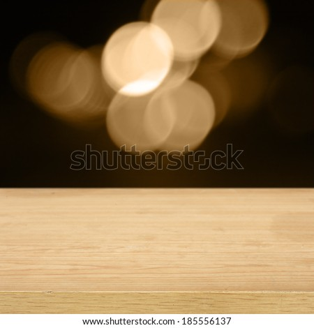 desk of empty space and bokeh  - stock photo