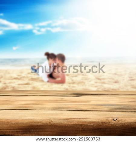desk of wood and sea with blue sky of love  - stock photo