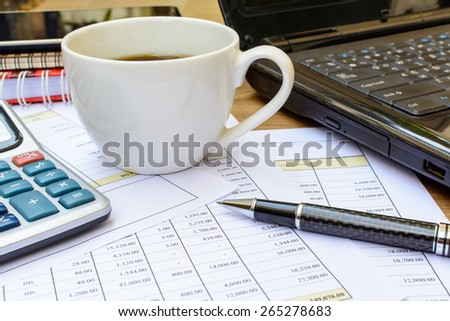 Desk office business financial accounting calculate - stock photo