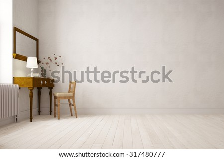 Desk on a wall in empty bright room (3D Rendering) - stock photo