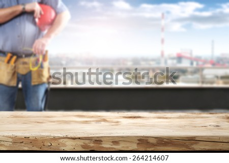 desk place worker and city landscape  - stock photo