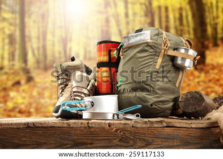 desk top of shoes backpack and plate  - stock photo