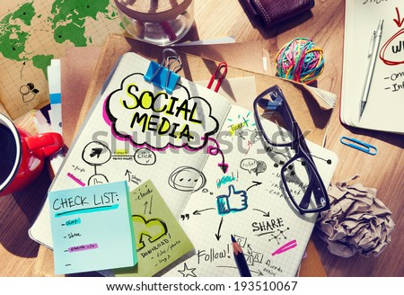 Desk with Social Media and Connection Concept  - stock photo