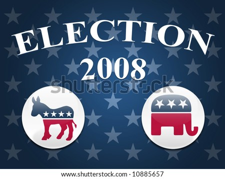Desktop background with blue stars and democrat and republican logo buttons - stock photo