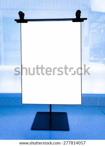 Desktop billboard black border in blue tone - stock photo