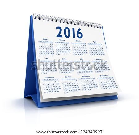 Desktop Calendar 2016 isolated - stock photo
