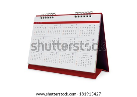 Desktop calendar 2015 isolated on a white background with clipping paths. - stock photo