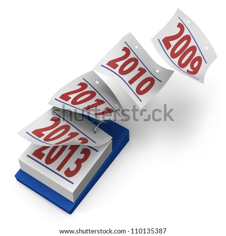 Desktop calendar showing how years fly by from 2009 to 2013 on white background - stock photo