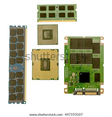 Desktop, laptop memory, cpu and ssd on a isolated desktop. - stock photo