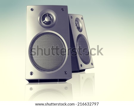 Desktop Stereo Loudspeakers Pair Perspective - stock photo