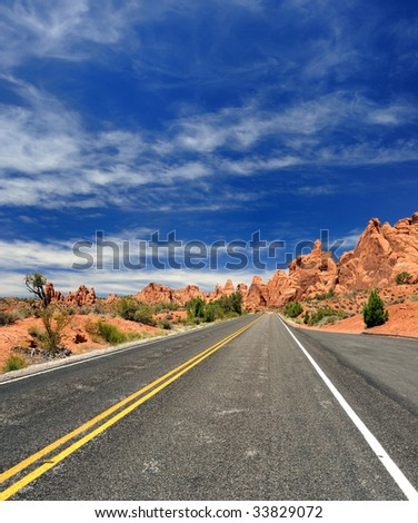 Desolate Road in Western United States - stock photo