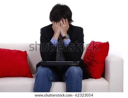 Desperate businessman. Recession and crisis concept. - stock photo