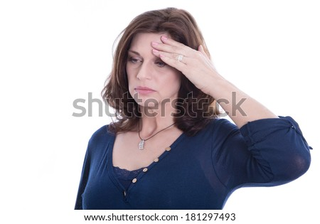 Desperate older isolated woman or headache. - stock photo