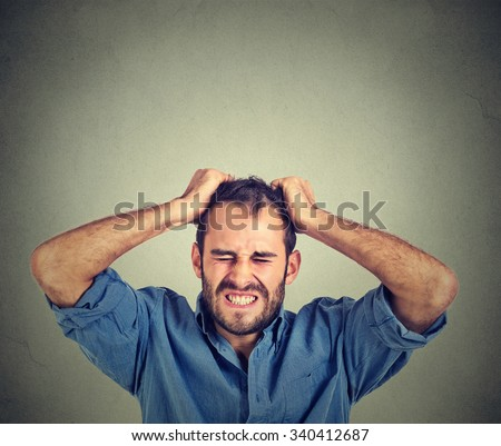 desperate stressed man  - stock photo