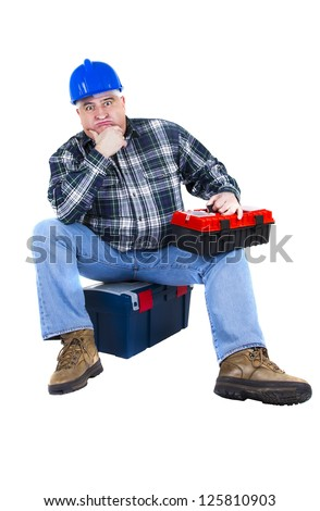 Desperate worker thinking about ideas. White background - stock photo
