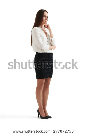 despondent businesswoman thinking about something and looking down. isolated on white background - stock photo